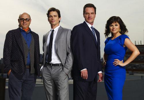 White Collar cast - Mozzie (Willie Garson), Neal Caffrey (Matt Bomer), Peter Burke (Tim DeKay), Elizabeth Burke (Tiffani Thiessen)