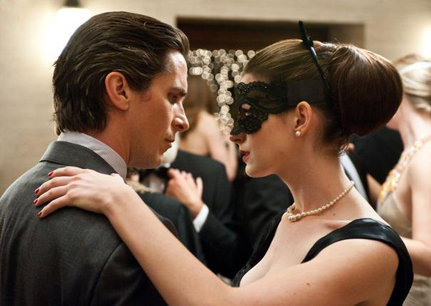 Bruce Wayne (Christian Bale) and Selina Kyle (Anne Hathaway) in The Dark Knight Rises