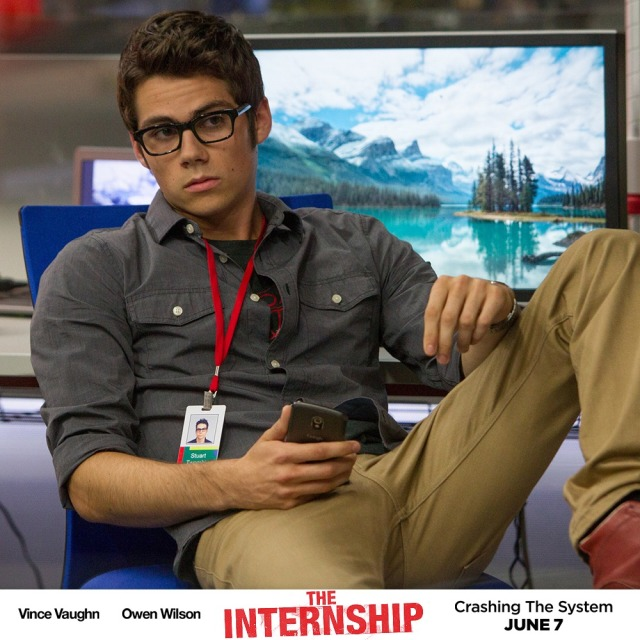 Dylan O'Brien in The Internship. With glasses.