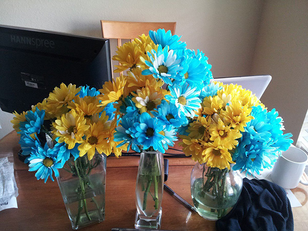 Blue and yellow birthday flowers!