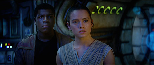 Finn (John Boyega) and Rey (Daisy Ridley) in Star Wars: The Force Awakens